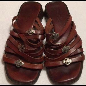 Sesto meucci brown strappy sandal slides.